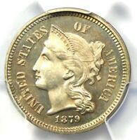 1879 Proof Nickel 3 Cent Coin 3CN - PCGS Proof UNC Details (PF / PR) - Rare!