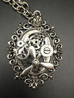 Silver Tone steampunk pendant & Long Adjustable chain necklace Gears Propeller A