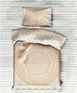 Bedding Twin Size Duvet Cover Gold Flower Mandala Cotton Indian Quilt Cover