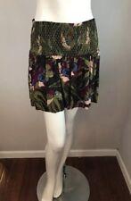 NWT Free People Green Purple Floral Stretch Jersey LA Nights Skirt Size L