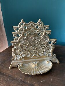 Antique brass pierced letter rack desk tidy traditional ornate gold interior