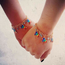 Charm Rainbow Unicorn Bracelet Chain Beaded  Girls Womens Jewelry LG