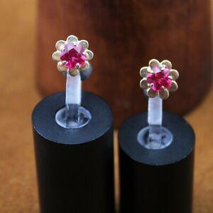 """ESTATE """"Ruby Flower"""" Stud Screw Back Earrings 18k Yellow Gold 10mm"""