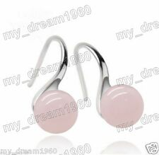 Gemston Silver Hook Earrings 10mm Natureal Pink Jade Jadeite