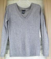 New York & Company Women's Size M Knit V-neck Sweater Long Sleeve Gray Metallic