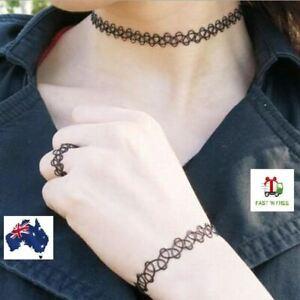Black Handmade Choker Set Retro Elastic Stretch Gothic 90's Bracelets/Ring/Neck