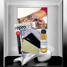 5x Matritzenpapier + 30 ml Abzugsflüssigkeit Tattoopapier für Henna / Jagua uvm.