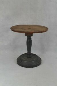 early period hat stand wood turned base 11 in. tall original 19th c 1800