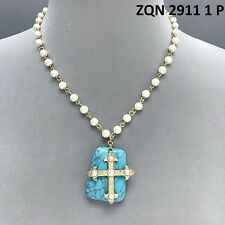 Gold Colored Turquoise Stone Rectangle Shape Cross Design Pendant Pearl Necklace