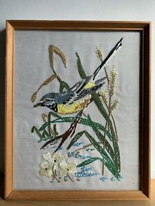 Finished Embroidery Piece Art Of Bird Scene