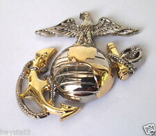 USMC EMBLEM Left Gold-Silver Military Veteran LARGE US MARINES Hat Pin P16362 EE