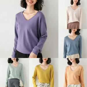 Womens Tops Pullover Knitted Sweater Oversize Loose V Neck Long Sleeves Casual