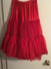 Vintage SAM'S Red Crinoline Petticoat Ruffled Square Dance Rockabilly Slip M