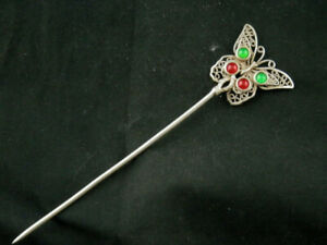 7.0 Inches Excellent Tibetan White Copper Butterfly Inlay Dzi Bead Hairpin X039