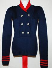 DONDUP Maglione donna pullover 100% Lana Extrafine Blu Navy Military logo M 42