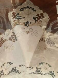 "NIP Lintex Golden Poinsettia Collection Cutwork Tablecloth 70"" Round"