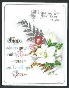 Y01 - VICTORIAN RELIGIOUS SCRIPTURE MOTTO NEW YEAR CARD