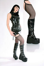 Gothic Punk Stiefel Lack Plateau Knee Boots Schnallen Rave Wave schwarz 36-43