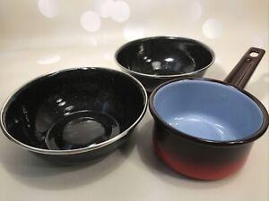 Vintage Small Enamel Pan and 2 Black Enamel Bowls