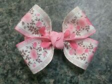 Set of 2 Roses hair bow toddler baby girl alligator clip pink ivory flowers