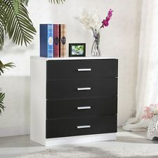 Modern Black&White Chest of 4 Drawers Cabinet Bedroom Living Room Furniture