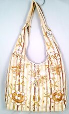 NEW Beige Linen Canvas Beaded Sequined Beige Gold & Tan Striped Hobo Purse $240