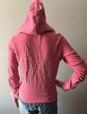 Victoria's Secret Supermodel Essentials Pink Hoodie Sz XS Angel Wings Bling Zip