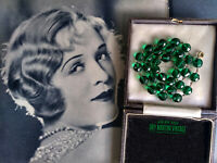 VINTAGE ART DECO BOHEMIAN SIGNED CZECH EMERALD GREEN GLASS BEADS NECKLACE GIFT