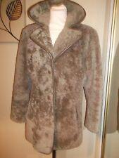 Heatona Shearling Sheepskin Leather Vintage Jacket Wool Teddy Beige Coat 12 14