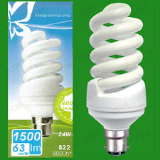 4x 24W Daylight SAD Low Energy CFL 6500K White Light Spiral Bulbs BC B22 Lamps