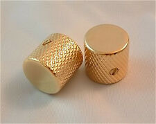 Guitar Parts METAL FLAT TOP KNOBS Knurled Barrel - 1/4in Hole - Set of 2 - GOLD