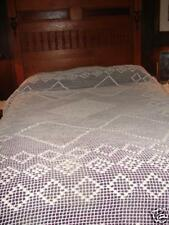 Antique Hand Crafted White Pop Corn Crochet Bedspread