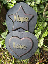 "2 religious plastic molds plaster cement wax candy Hope Star & Love Heart 6""-7"""