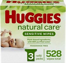 Huggies Natural Care Sensitive Baby Wipes, Unscented, 3 Refill Packs (528 Wipes