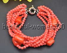 X0494 Set 5Strds Red & Pink round Coral White keshi pearl Necklace & Bracelet