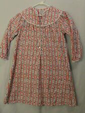 Lanz of Salzburg Flannel Cotton Nightgown Red White Floral Stripe Womens Small