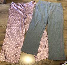 Grey / Pink Spotty Satin Tu Pj Lounge Pyjama Bottoms Trousers Size 16 X2 Bundle