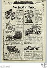 1933 PAPER AD Mechanical Toys Motorcycle Hoge Cyclecar Cop Turnover Tank Sambo