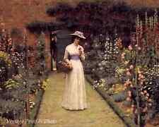 Lady in a Garden by E B Leighton Art Flowers Basket Man Gate 8x10 Print 363