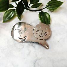 """Vintage Sterling Silver 925 Cartoon Kitty Cat Design Brooch Pin 2.25"""" (11g)"""