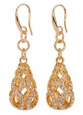 Swarovski Elements Crystal Drop Abstract Earrings Rhodium Plated New 7147z