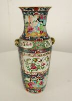 "Antique 19th C Chinese Famille Rose Canton Porcelain Vase 12.2"" Blue Ground"