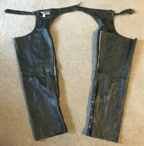 Genuine Leather Black Leather Side Zip Motorcycle Chaps - Size 2XL