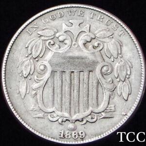 1869 SHIELD NICKEL 5c ~ RAZOR SHARP ANTIQUE COIN ~ FREE SHIPPING ~ TCC