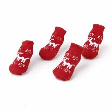 Christmas Dog Cat Paw Protection reindeer non - slip socks XS BT