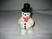 Vintage Rosbro Christmas Snowman Candy Container white