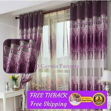 Blockout Purple*Lavender Valance Bedroom Fabric Drapes+Sheer Eyelets Rod Pockets