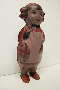 """Vintage Lindstrom Betty Windup Walker Shaker Tin Toy~Working~1930's~8"""" Tall~USA"""