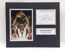 RARE Martin Johnson England Rugby Signed Photo Display + COA AUTOGRAPH 2003 RWC