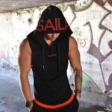 Mens Sleeveless Hoodie Hooded Sweatshirt Sport Gym Sweater Tops Shirts Vest XI